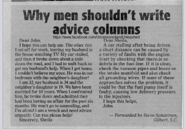 advice columnist torn between guys